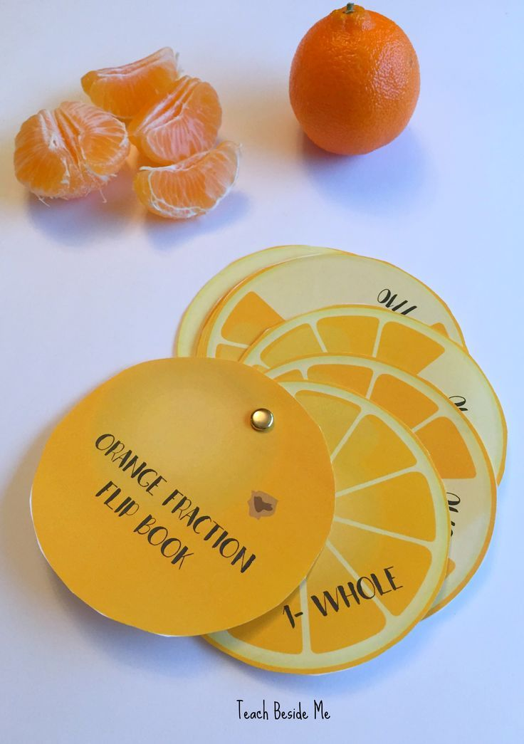 Orange Fraction Flip Book- Great math activity to go with the book Each Orange had Eight Slices!