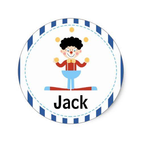 Childrens Clown Birthday Sticker