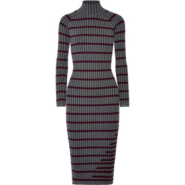 T by Alexander Wang Striped ribbed stretch-knit midi dress (£365) via Polyvore featuring dresses, charcoal, ribbed dress, ribbed midi dress, form fitted dresses, charcoal grey dress and stripe midi dress