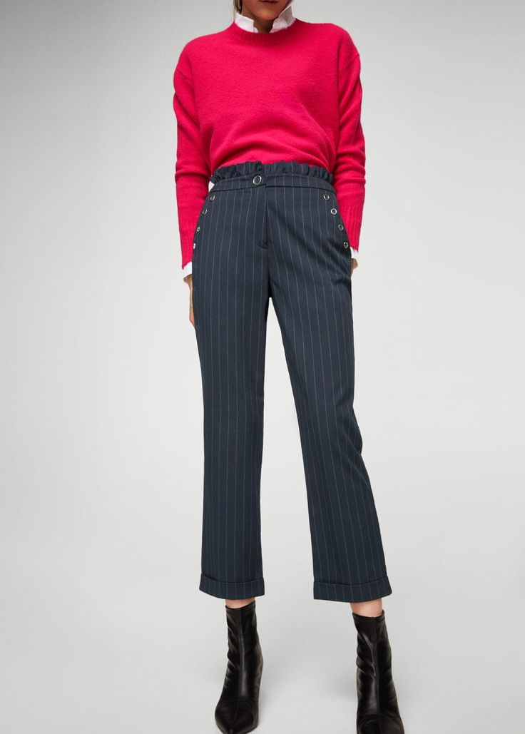 Eyelets striped trousers -  Women | MANGO USA