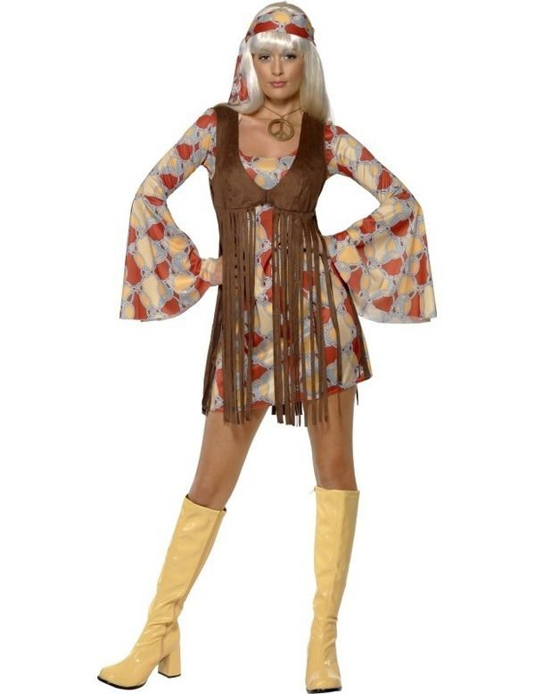 Ladies 60s Groovy Baby Festival Hippy Hippie Fancy Dress Costume in Clothing, Shoes, Accessories, Costumes, Women's Costumes | eBay