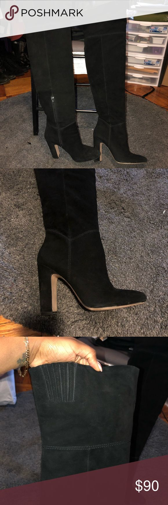 Aldo Black Suede Thigh High Boots Worn only once to dinner. Thigh high with about a 4 inch heel. Aldo Shoes Heeled Boots