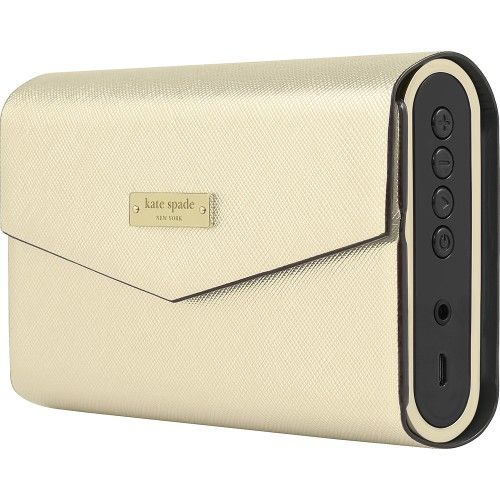 kate spade new york - Portable Bluetooth Speaker - Black/Gold Saffiano - Left Zoom