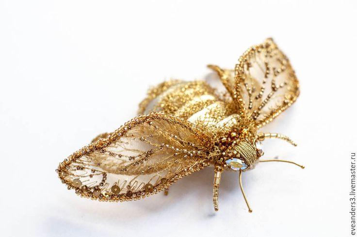Купить Брошь - Шмель Elina - золотой, брошь вышитая бисером, брошь вышитая, брошь, мотылек