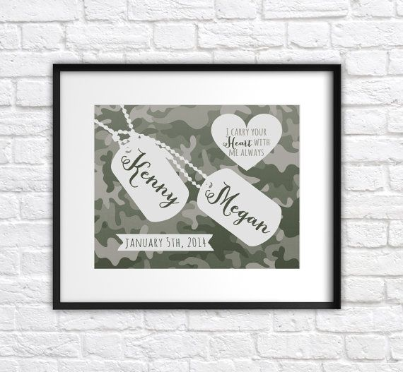 Wedding Gift Ideas For Military Couples : Military Wedding Gift, Custom Present for Army Couple8x10 Art Print ...