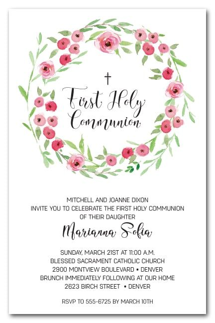 A beautiful watercolor wreath of spring leaves and flower buds in shades of pink, these invitations are perfect for your child's first holy communion invitations, baptism invitations or christening invitations. Come see our entire religious event invitation collection at Announcingit.com