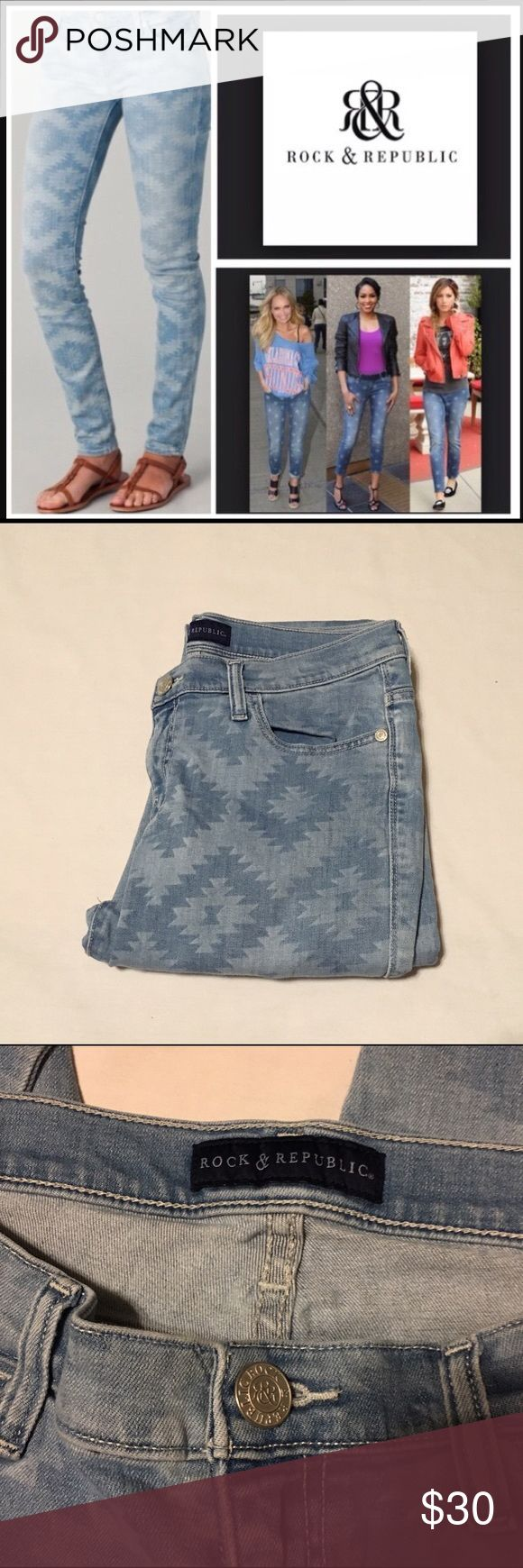 """Rock & Republic Aztec printed skinny jeans In like new condition, worn once. No flaws! Light wash.                                                            28"""" inseam, 17 1/2"""" waist, 20"""" hips, 10"""" rise. Rock & Republic Jeans Skinny"""