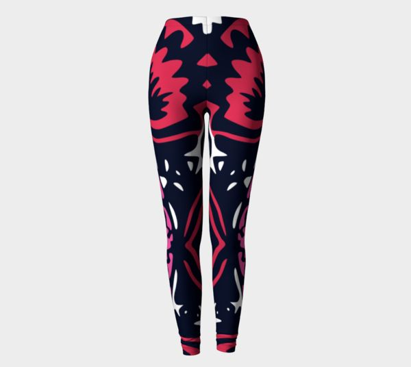 pink leggings with graphic prints