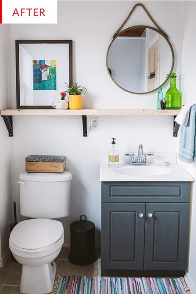 Before and After: It's Amazing What a Measly $100 Can Do for a Beige Bathroom
