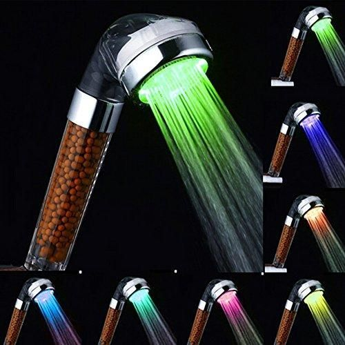 Oferta: 10.39€ Dto: -26%. Comprar Ofertas de Rainbow ducha de mano, marsoul ducha fija 7 LED de color cabezal de ducha de baño ducha ducha del aerosol fuerte anión doble  barato. ¡Mira las ofertas!