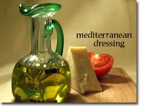 Mediterranean Dressing ~mix extra virgin olive oil, garlic, salt and pepper in decanter. Add fresh squeezed lemon juice to salad after dressing is applied.