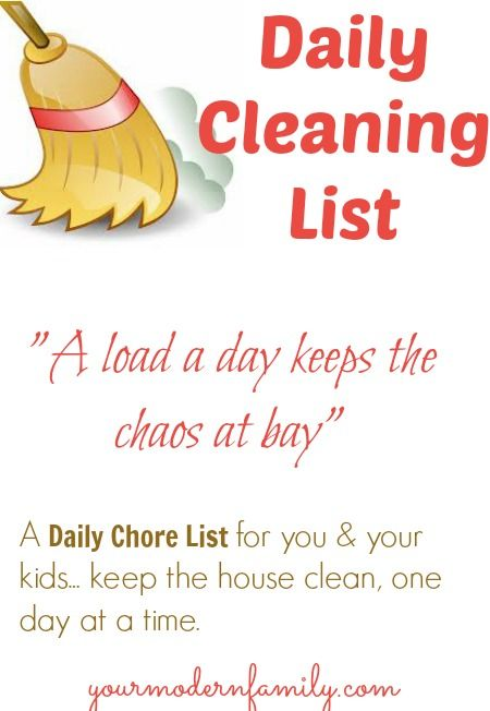 Daily cleaning list for you & your kids.