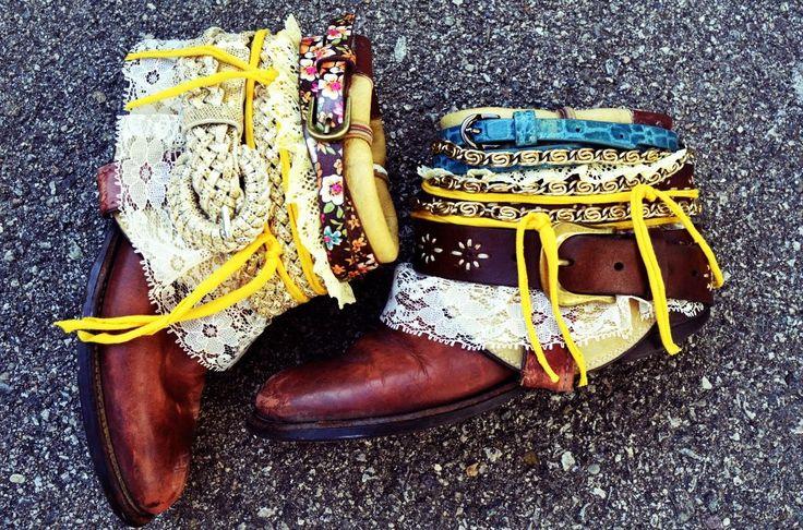 DIY Shoe Refashion: DIY boho belted boots DIY Shoes DIY Refashion
