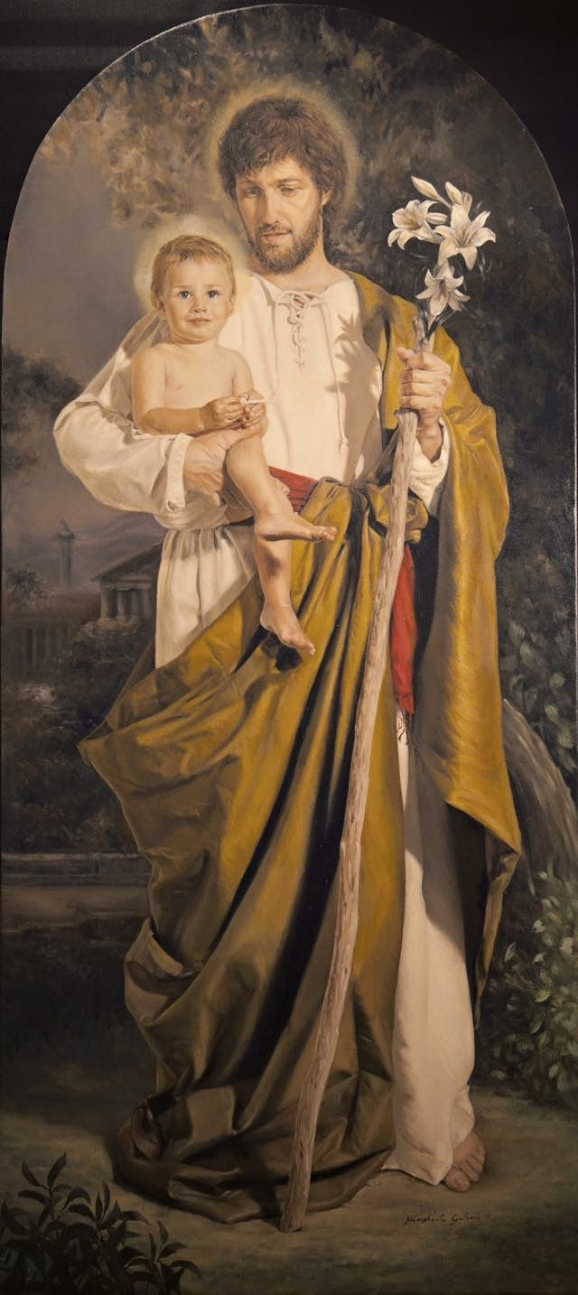 Saint Joseph, Foster Father Of The Child Jesus.  Beautiful!