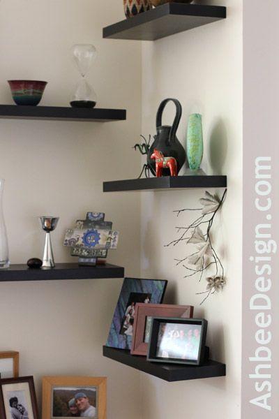 Alternating Shelves can help decorate an awkward corner