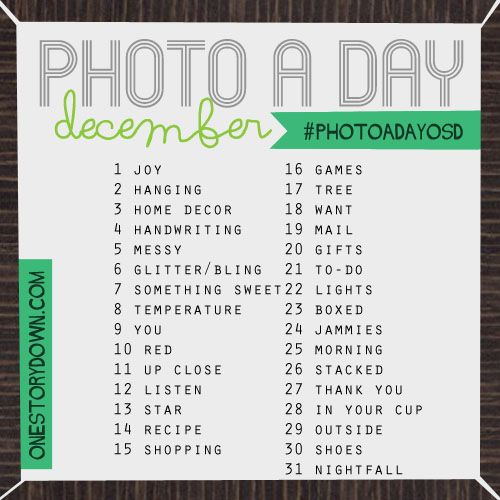 December Photo a Day Prompts