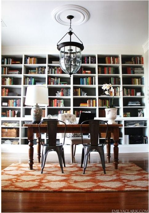 Dining room into home office-library.