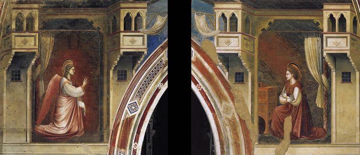 ジョット・ディ・ボンドーネ(Giotto di Bondone)『受胎告知』(Annunciation) 1306 フレスコ スクロヴェーニ礼拝堂 in パドヴァ
