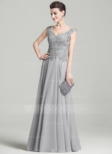A-Line/Princess V-neck Floor-Length Chiffon Mother of the Bride Dress With Appliques Lace (008074209) - JJsHouse
