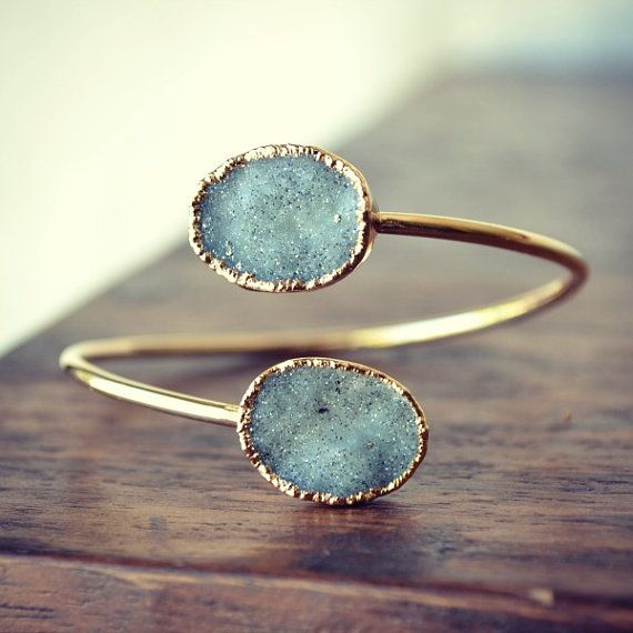 "Lux Divine Druzy Wrap ""PERFECT PAIRS"" Gemstone Bracelets /// Gold on Etsy, $80.00"