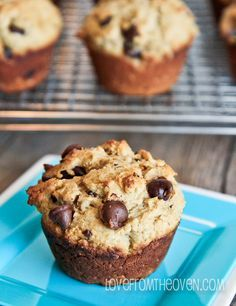 Peanut Butter Oatmeal Chocolate Chip Muffins by Love From the Oven