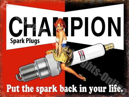 Vintage Garage Spark Plugs Funny 50s Pin Up Girl Car Oil Small Metal Tin Sign