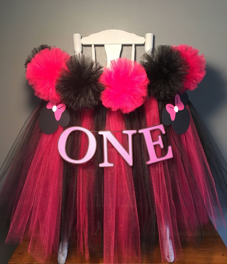 Minnie Mouse High Chair Tutu- Pink and Black  HighChair Tutu- Highchair Skirt- Minnie Mouse high chair skirt- Minnie Mouse First Birthday by AvaryMaeInspirations on Etsy https://www.etsy.com/listing/526996267/minnie-mouse-high-chair-tutu-pink-and