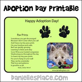 Adoption Day Printable  - Great to use at pet adoption events - www.daniellesplace.com