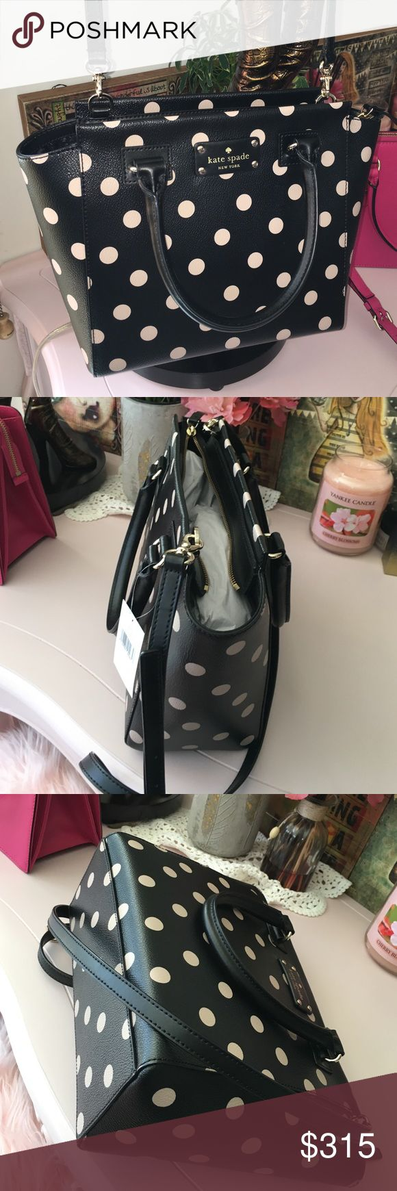 Kate Spade Camryn Wellesley Polka Dot Leather Kate Spade Small Camryn in black/dcobge Leather nwt $328 kate spade Bags Shoulder Bags
