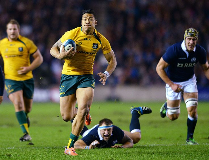 Israel Folau bursts clear to score Australia's opening try against Scotland. What a tremendous rugby player. I want to be like him
