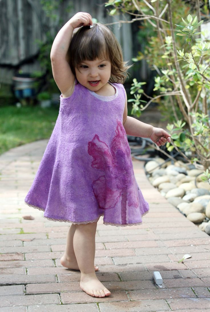 Nuno felted unique designer silk dress little girl