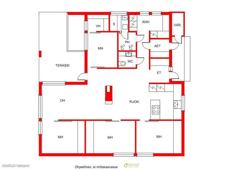 Mahdollisesti aika hyvä pohja: yksi kerros, olohuone ja keittiö talon keskellä. Kaksi eteistä - arkieteinen ja parempi eteinen :) Sauna ja pesuhuone eivät ole kovin isoja, joten eivät vie turhaa tilaa.