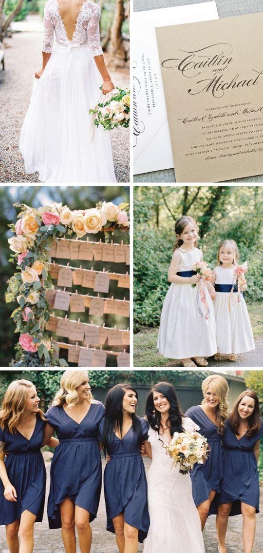 Rustic Kraft Wedding Inspiration - Lace Wedding Dress, Kraft Wedding Invitation, Rustic Flowers, Navy Bridesmaid Dresses