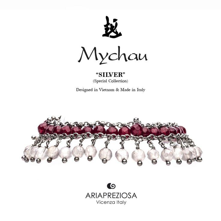 Mychau Silver - Bracciale realizzato in Argento 925‰ (galvanica chocolate) e pietre naturali Agata Rossa ed Agata Ghiaccio