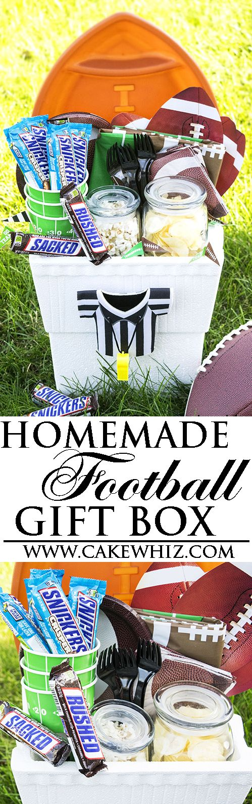 Learn how to make a quick & easy homemade FOOTBALL GIFT BASKET. It includes all the essentials you would need to throw a successful football party! {Ad} From cakewhiz.com.