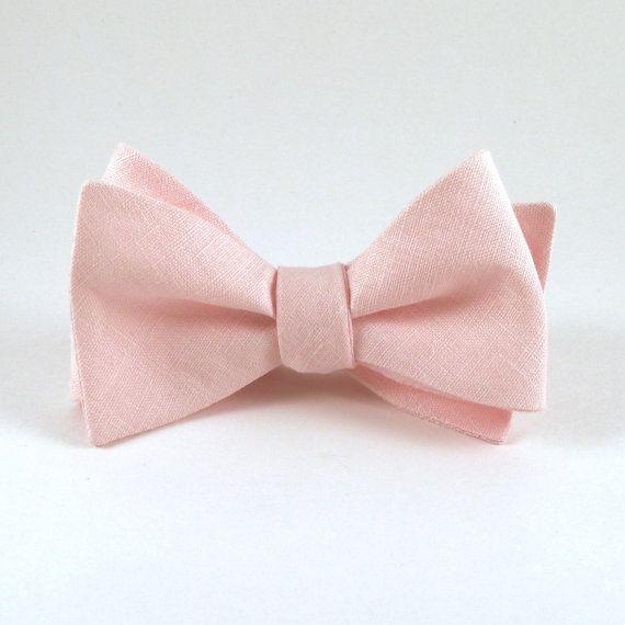 Fard à joues rose avec noeud, Light des hommes Pink lin noeud papillon - Self…