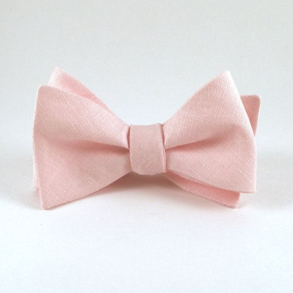 Fard à joues rose avec noeud, Light des hommes Pink lin noeud papillon - Self Tie noeud papillon avec quincaillerie réglable de mariage de marié