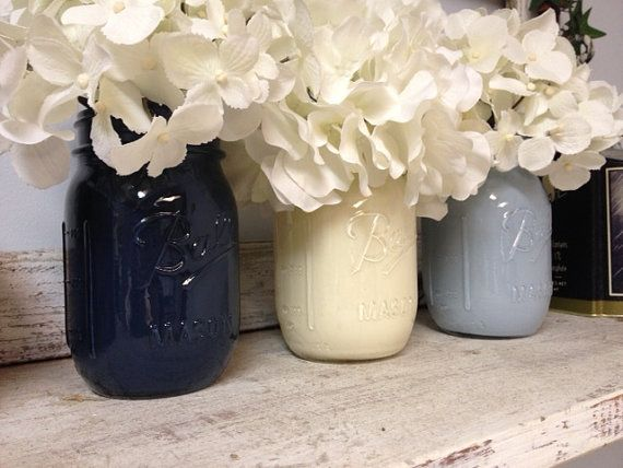 Hand-painted (Set of 3) Navy, White, and Light Blue Mason Jars. Perfect for Gifts, Home Decorations, and Weddings, Centerpieces, and much much