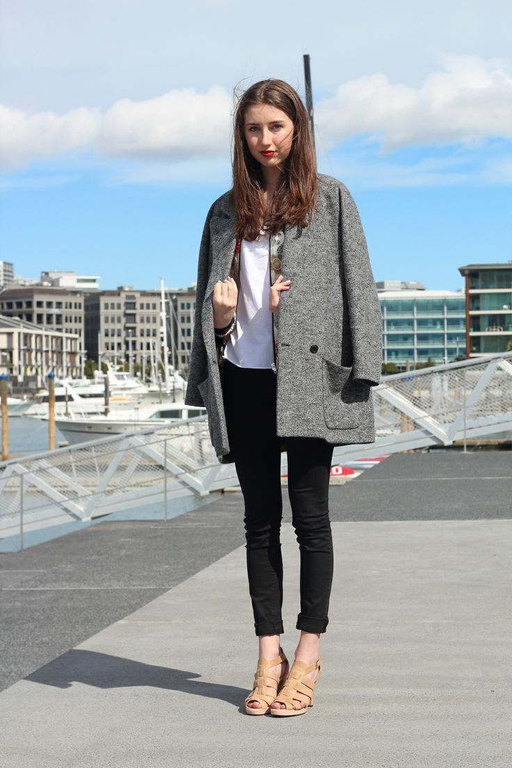 """""""We liked the simplicity of Rosa's style including this coat from Ricochet over the top of a bomber from Ruby. Her t-shirt is by Commoners, her jeans by Cheap Monday and her shoes are by Kathryn Wilson."""""""