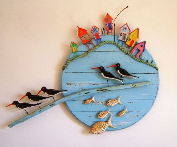Tony Britnell - Five oyster catchers, fish and beach huts