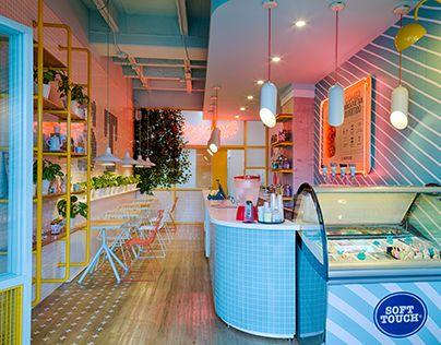 "Check out new work on my @Behance portfolio: ""SOFT TOUCH - diseño de restaurante"" http://be.net/gallery/48870877/SOFT-TOUCH-diseno-de-restaurante #icecream #heladeria #neon #lamp #retro"