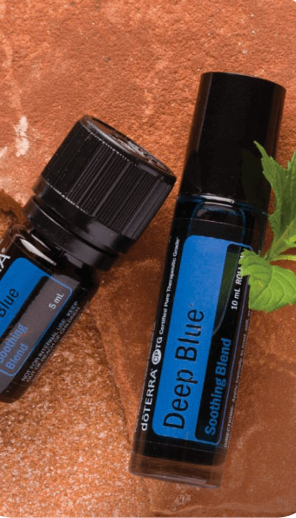 Deep Blue Soothing Blend Product Description This is probably my husband's favorite oil. He loves to use it for tension headaches and on his back when it is tight or has knots. We also roll it on our daughter's legs when she wakes up in the night with growing pains. doTERRA Deep Blue Soothing Blend …