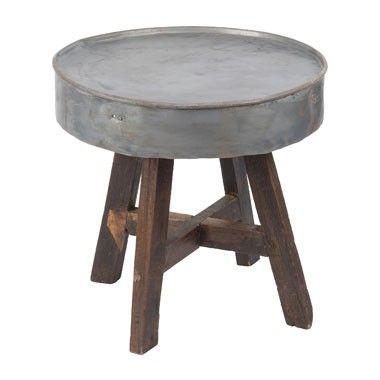 Recycle tafeltje met zinken blad - 60x57 cm