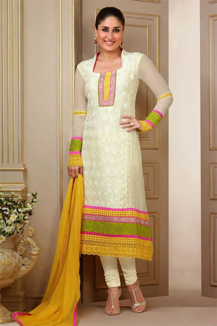 Kareena Kapoor Style Off White Color Faux Georgette Fabric Salwar Kameez With Matching Bottom And Dupatta.