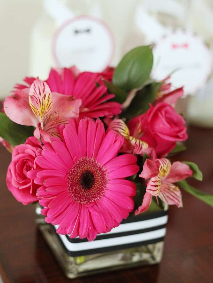 Flower arrangement at a Kate Spade birthday party! See more party planning ideas at CatchMyParty.com!