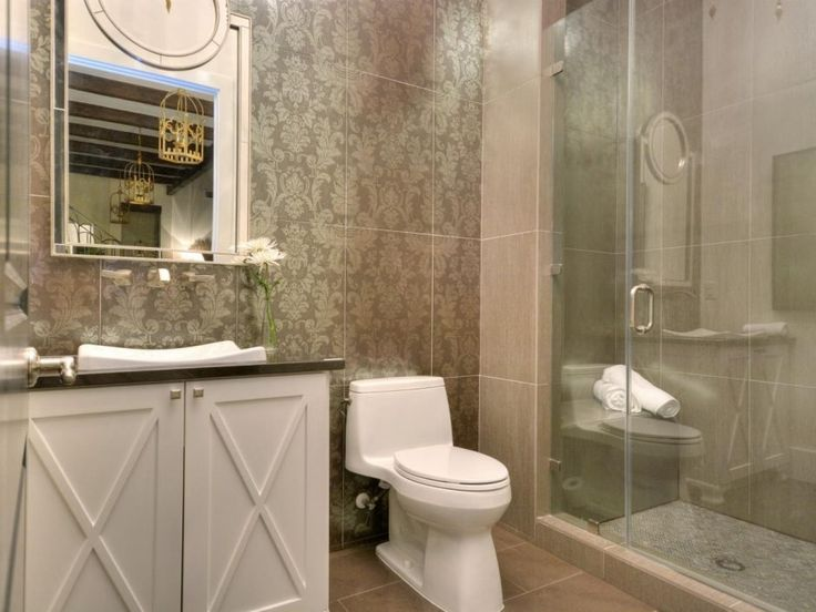 Design Ideas: Taupe Wallpaper In A Contemporary Miscellaneous Bathroom. taupe classic wallpaper. white cabinetry. frameless shower door.