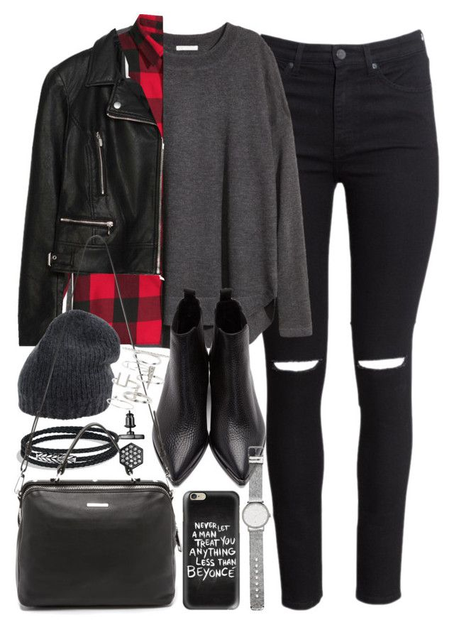 """Outfit with black jeans and a check shirt"" by ferned on Polyvore featuring H&M, Acne Studios, David Yurman, Zara, Roberto Collina, Linea Pelle, Casetify, Witchery, Topshop and Simply Vera"