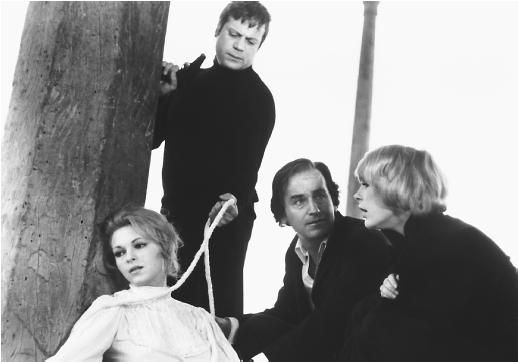 Maria Rohm, Oliver Reed, Alberto de Mendoza and Elke Sommer in Then There Were None, 1974