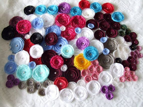 Fabric flowers Wholesale fabric flowers - Silk flowers - Handmade fabric flowers - Wedding flowers Bridal Fabric flowers in bulk via Etsy