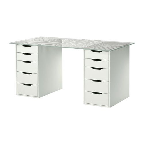 GLASHOLM/ALEX Table IKEA A table top in tempered glass is stain resistant and easy to keep clean.